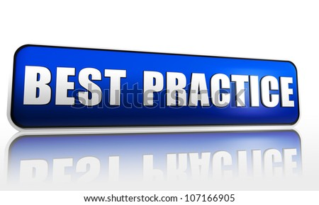Best practice blue 3d banner with text