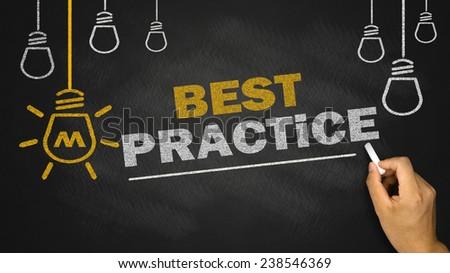 best practice concept on blackboard background