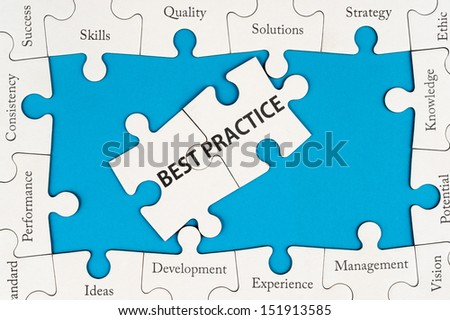 Best practice concept with group of jigsaw puzzles