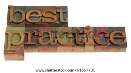 best practice - words in vintage wooden letterpress printing blocks isolated on white