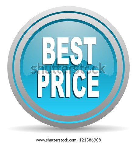 best price blue glossy icon on white background