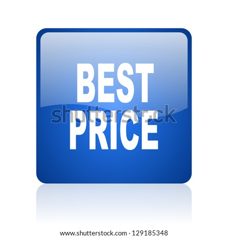best price blue square glossy web icon on white background
