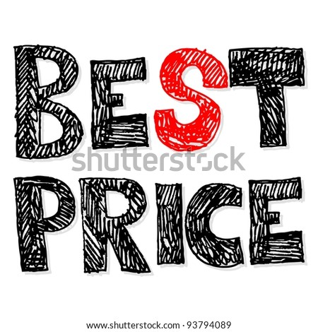 best price, crazy doodle - stock photo