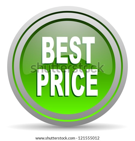 best price green glossy icon on white background