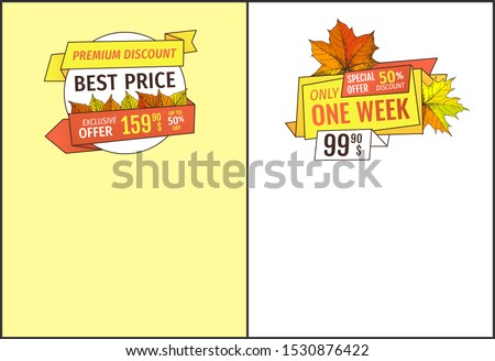Best price premium discount buy now at super hot price 159.90 promo posters set oak and maple leaves. Autumn season discounts on Thanksgiving day raster