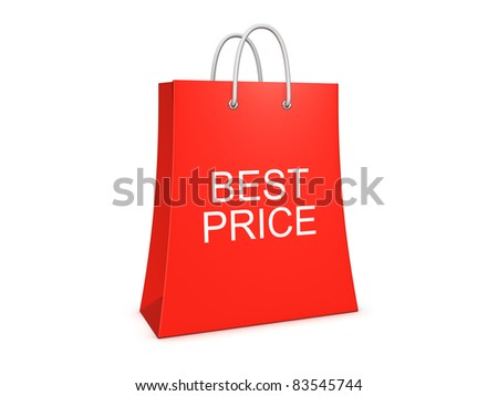 Best price shopping bag. Isolated on the white background