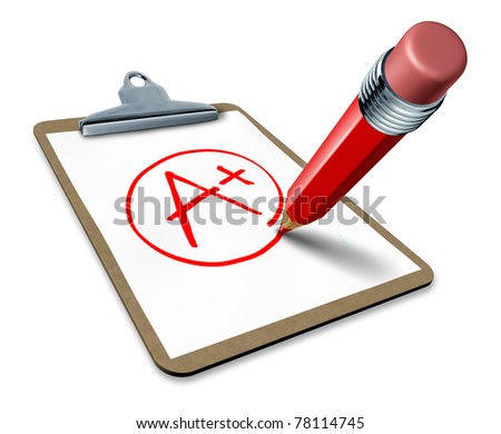 Best rating symbol represented by a clipboard with a red pencil writing a plus sign to show the excellence and number one performance of a winner of quality control.