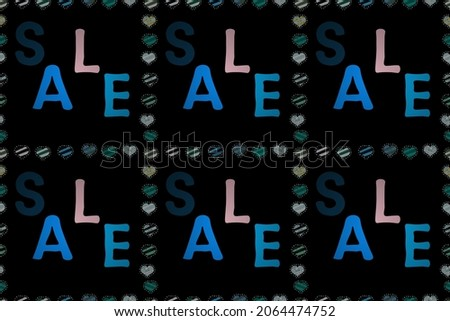 Best sale banner. Original poster for discount. Seamless. Raster. Lettering. Pictures in blue, black and neutral colors. Bright abstract background with text.
