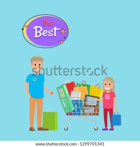 Best sale 75 % off online shopping poster with text shop now. Father and daughter making buys trolley cart full of bags, raster illustration