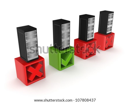 Best server concept.Isolated on white background.3d rendered.