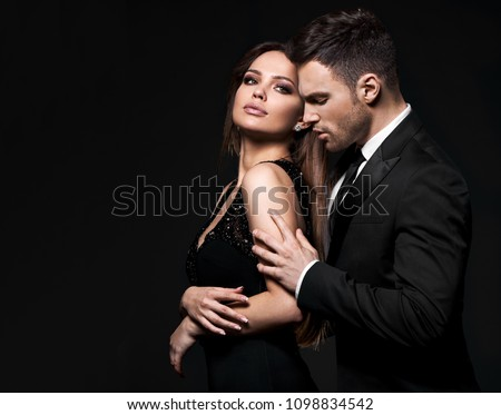 Best sexy elegant couple in the tender passion. Black background. - Shutterstock ID 1098834542