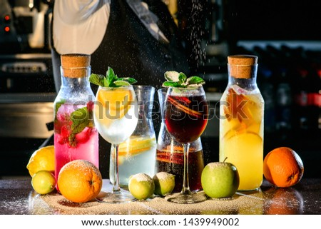 best summer cold drinks white and red sangria, pitcher refreshing refreshing drink. a large portion of mojito and sangria #1439949002