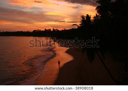 best sunset on the beach, unawatuna, sri lanka
