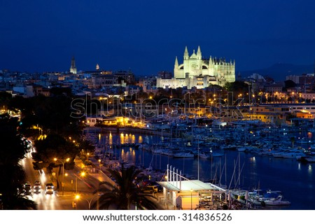 Best view of Palma de Mallorca with the Cathedral Santa Maria by night