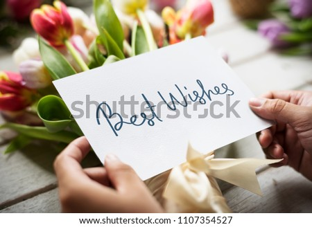 Best wishes card with a bouquet