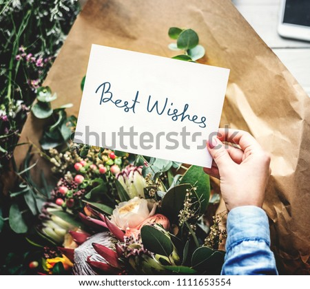 Best Wishes card with a flower bouquet #1111653554