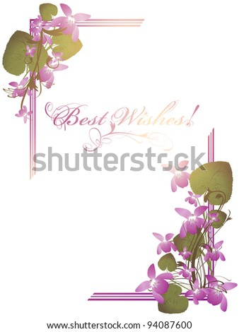 Best Wishes postcard with bunch of wild violet over white background - stock photo