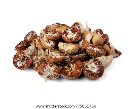 Betel Nut or Areca Nut isolated on white background.
