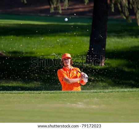 BETHESDA, MD - JUNE 13: Rickie Fowler blasts a a sand shot onto the 6th hole at Congressional during the 2011 US Open on June 13, 2011 in Bethesda, MD.