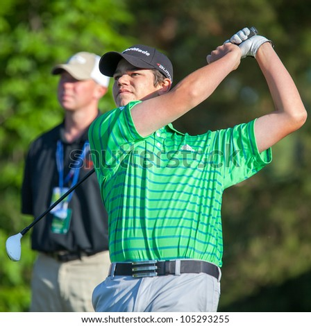 BETHESDA, MD - JUNE 14: Young amateur, Beau Hossler, hits a shot at Congressional during the 2011 US Open on June 14, 2011 in Bethesda, MD.