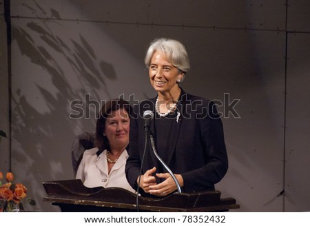 BETHESDA, MD - OCTOBER 20 : Christine Lagarde, Minister of Economic Affairs, Finances and Industry of France, speaks at the Holton-Arms School, October 20, 2007, in Bethesda, Maryland - stock photo