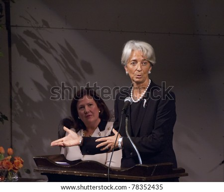 BETHESDA, MD - OCTOBER 20: Christine Lagarde, Minister of Economic Affairs, Finances and Industry of France, speaks at the Holton-Arms School, October 20, 2007, in Bethesda, Maryland
