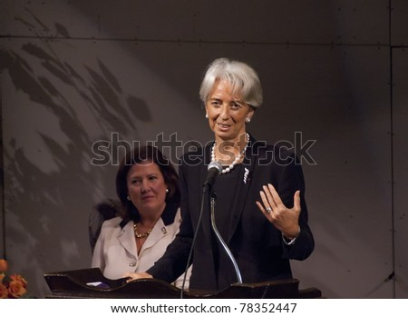 BETHESDA, MD - OCTOBER 20:Christine Lagarde, Minister of Economic Affairs, Finances and Industry of France, speaks at the Holton-Arms School, October 20, 2007, in Bethesda, Maryland