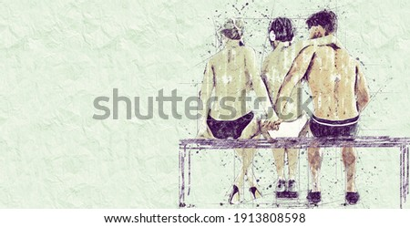 Betrayal Concept. 2+1 Two women and one man. Love triangle. Young people in the summer on the beach. Sketch drawing in pencil style. Horizontal orientation with copy space Stock foto ©