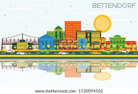 Bettendorf Iowa City Skyline with Color Buildings, Blue Sky and Reflections. Business Travel and Tourism Illustration with Modern Architecture. Bettendorf Cityscape with Landmarks.