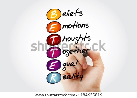 BETTER - Beliefs Emotions Thoughts Together Equal Reality, acronym with marker, concept background
