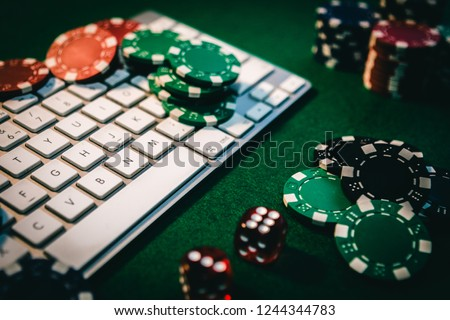 Betting services on Internet. Gambling on website and winning money. Play poker online at home.