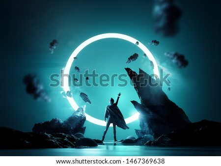 Between worlds fantasy concept. A women reaching up into a glowing loop of light. Futuristic women portrait 3d illustration.
