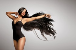 beuaty black woman in wig Hair extencion concept