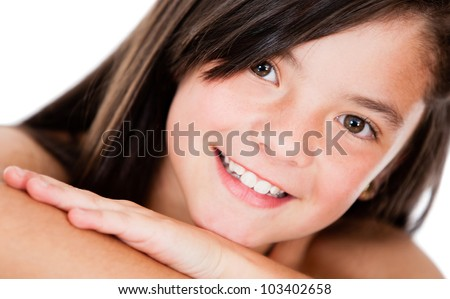 Beutiful girl portrait smiling - isolated over a white background