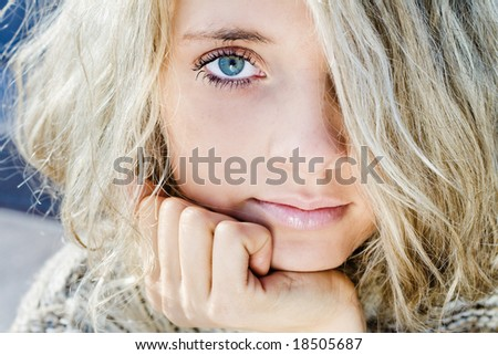 Beutiful girl with blue eyes portrait