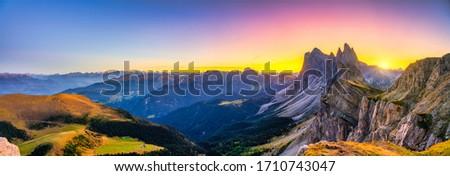 Photo of  Beutiful sunset panorama of Seceda mountain peak. Trentino Alto Adige, Dolomites Alps, South Tyrol, Italy, Europe