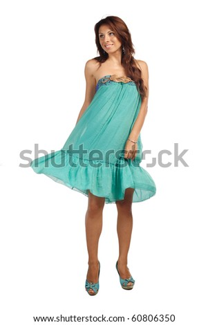 Beutiful woman posing in blue dress. More images of this models you can in my portfolio - stock photo
