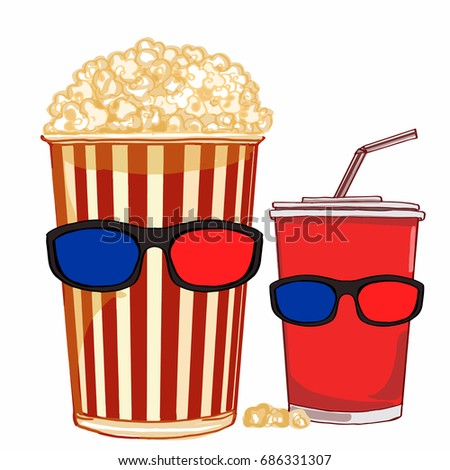 beverage and popcorn and 3D glasses Stok fotoğraf ©