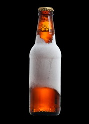 Beverage Beer Brow Bottle Frost and icy Effect isolated in black for overlay
