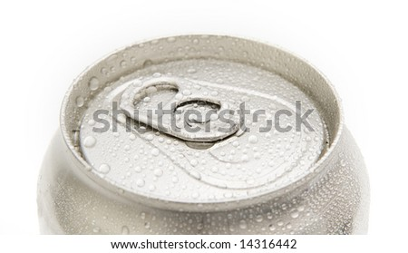 beverage can top with water drops isolated over white