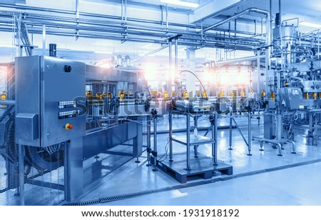 Beverage factory, Conveyor belt with bottles, food and drink production line process