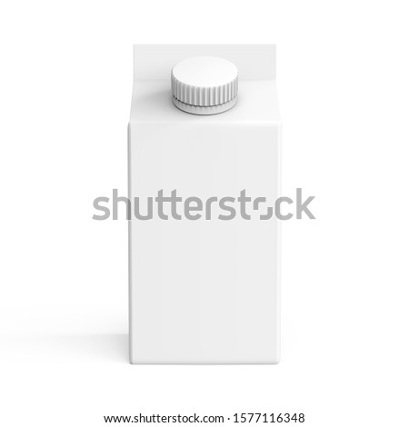 Beverage packaging 3d render. Product paper box. Pack mockup illustration. A white carton package of milk with round screw cap.