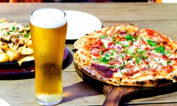 Beverage Photo glass of cold beer and pizza, nice lunch drink beer and good pizza on wooden table