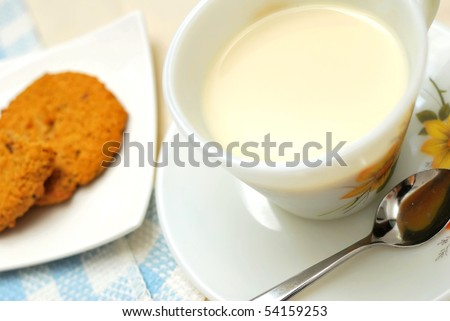 Beverage with cookies for breakfast. Concepts such as food and beverage, diet and nutrition, and healthy lifestyle.