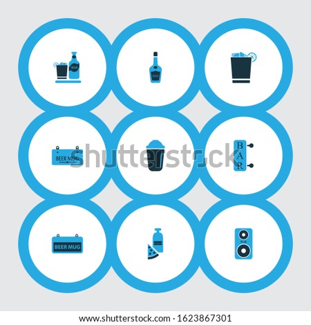 Beverages icons colored set with shaker, beverage, whiskey with ice and other vodka bottle elements. Isolated illustration beverages icons.