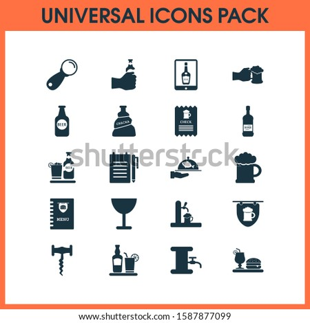Beverages icons set with drink, tequila, chacha and other goblet elements. Isolated illustration beverages icons.