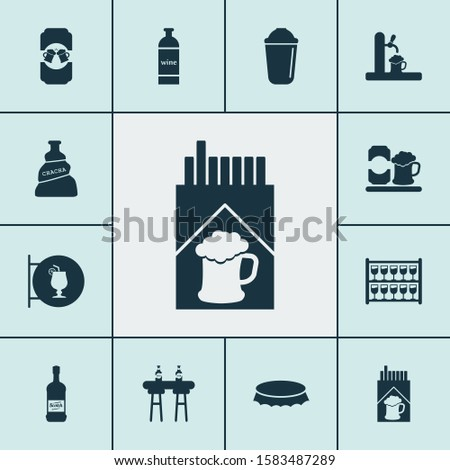 Beverages icons set with scotch, cigarette, ale mug and other whisky elements. Isolated illustration beverages icons.