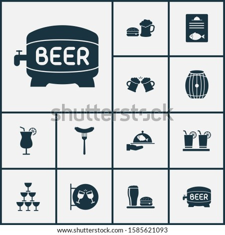 Beverages icons set with spacing, beer mug, nightclub and other martini elements. Isolated illustration beverages icons.
