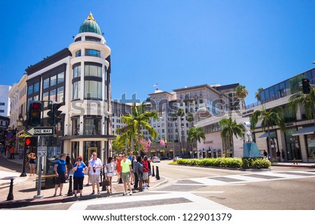 BEVERLY HILLS, CA - AUG 11: Rodeo Drive in Beverly Hills on Aug. 11, 2012. Rodeo Drive is an affluent shopping district known for designer label and haute couture fashion.