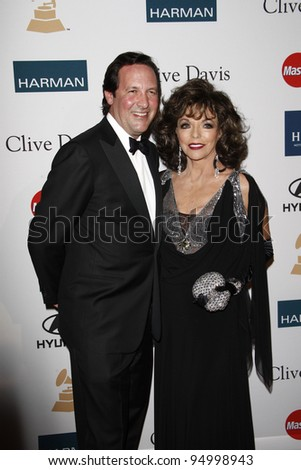 BEVERLY HILLS, CA - FEB 11: Joan Collins; husband Percy Gibson at the Clive Davis and the Recording Academy's 2012 Pre-GRAMMY Gala on February 11, 2012 in Beverly Hills, California